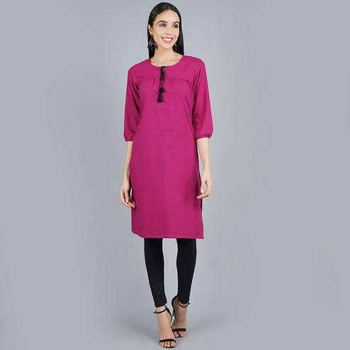 Darzaania - Purple Checkered Casual Wear Cotton Kurti