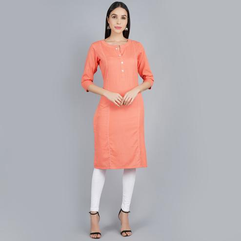 Darzaania - Solid Peach Long Cotton Kurti For Daily Wear