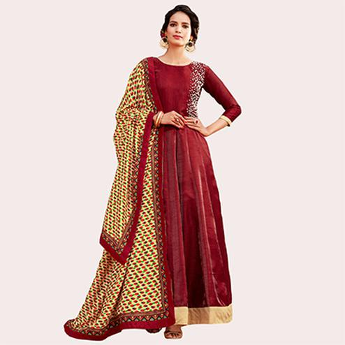 Gorgeous Maroon Colored Designer Abaya Style Banglori Silk Anarkali Suit