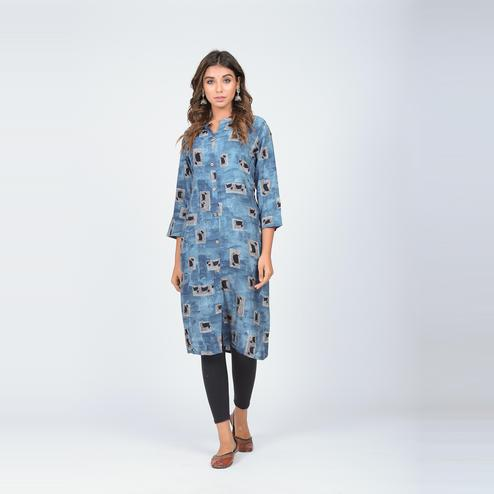 Lakbi - Blue Colored Digital Printed Straight Rayon Kurti With Buttons