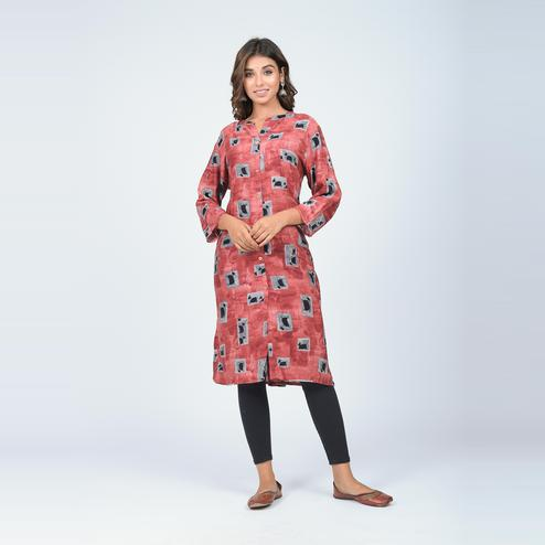 Lakbi - Rust Colored Digital Printed Straight Rayon Kurti With Buttons