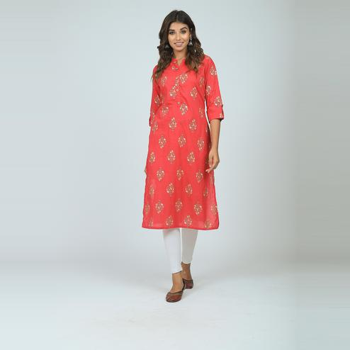 Lakbi - Red Colored Prinyed Straight Cotton Kurti With Buttons With Single Side Pocket