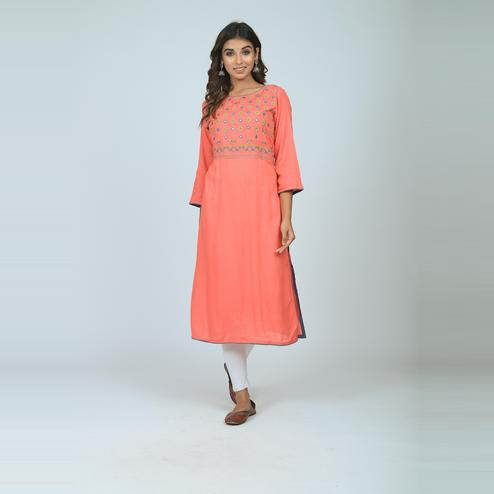 Lakbi - Orange Colored Embroidered Straight Rayon Kurti