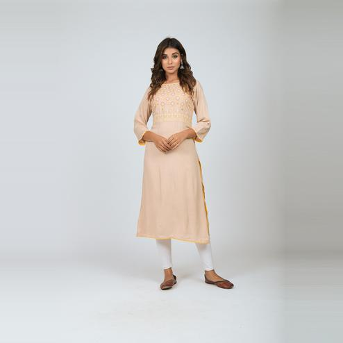 Lakbi - Beige Colored Embroidered Straight Rayon Kurti