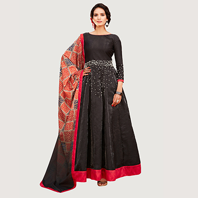 Sizzling Black Colored Designer Abaya Style Banglori Silk Anarkali Suit