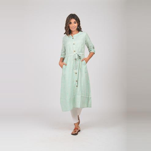 Lakbi - Sea Green Colored Stripe Wooven Cotton Kurti With Tieable Belt At Waist