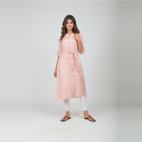 Lakbi - Light Pink Colored Stripe Wooven Cotton Kurti With Tieable Belt At Waist