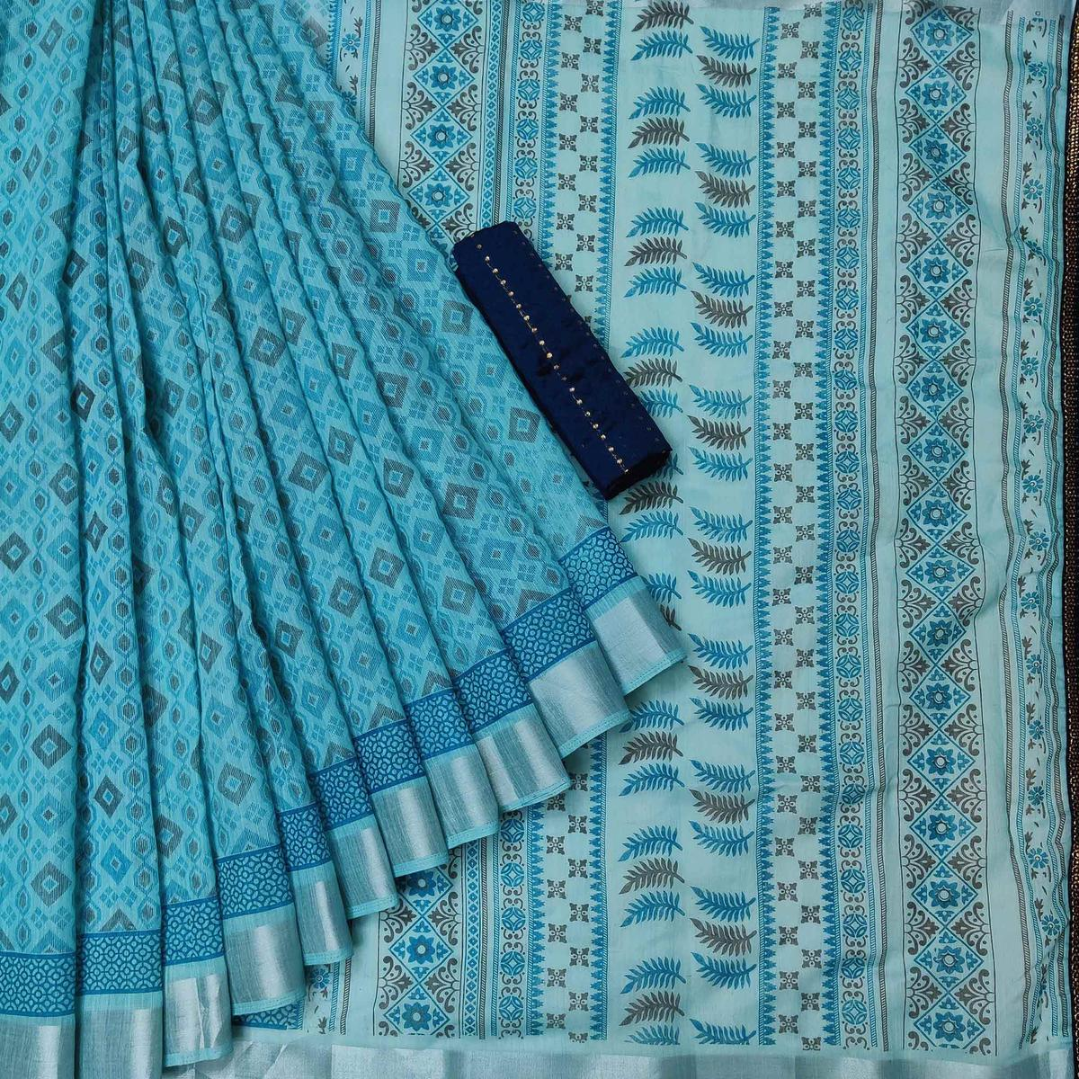 Eye-catching Ferozi Colored Casual Wear Printed Cotton Saree