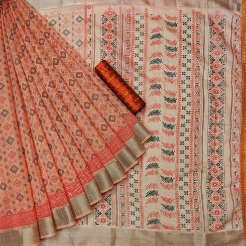 Amazing Peach Colored Casual Wear Printed Cotton Saree