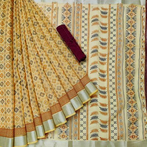Gorgeous Yellow Colored Casual Wear Printed Cotton Saree