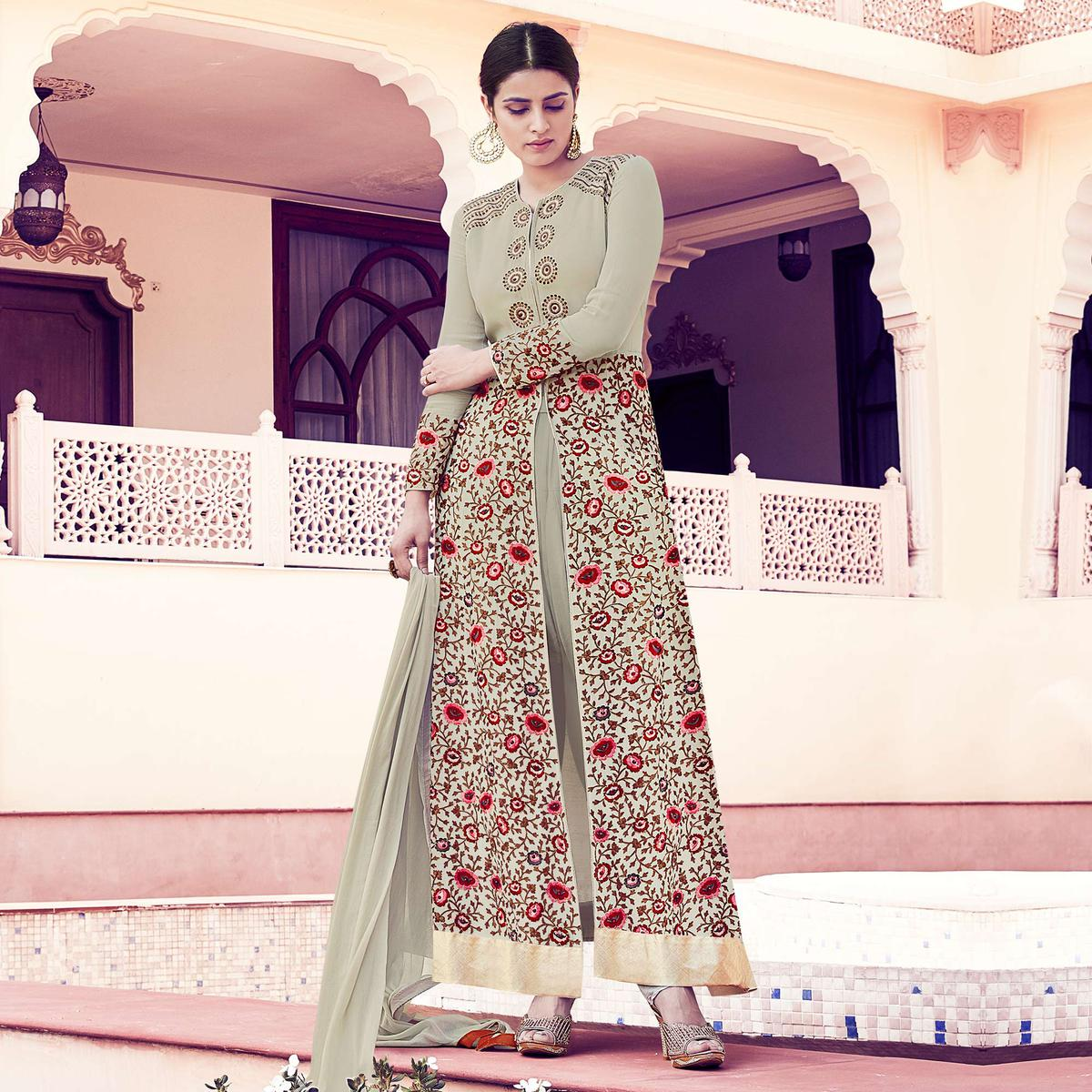 Light Green Front Slit Designer Suit