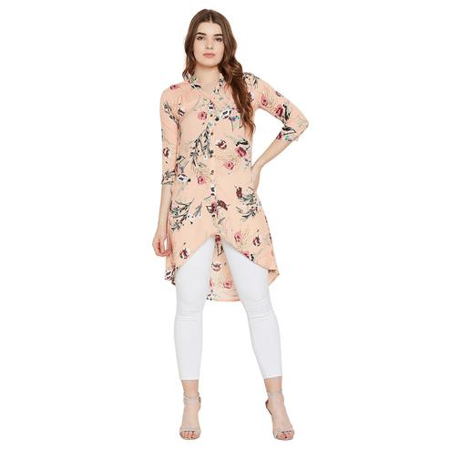 Tufafi - Women Peach Color Floral Printed  Summercool Polyster Tunic