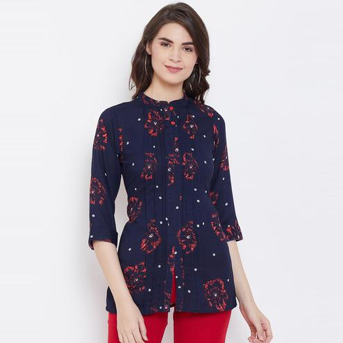 Tufafi - Women Navy Blue Color Dyed Printed Polyster Tunic