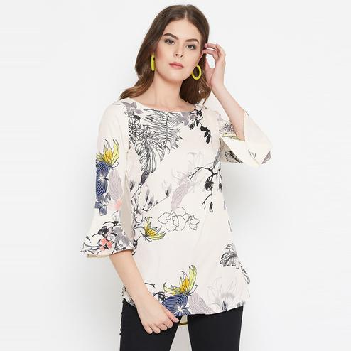 Tufafi - Women White Color Floral Printed Crepe Tunic