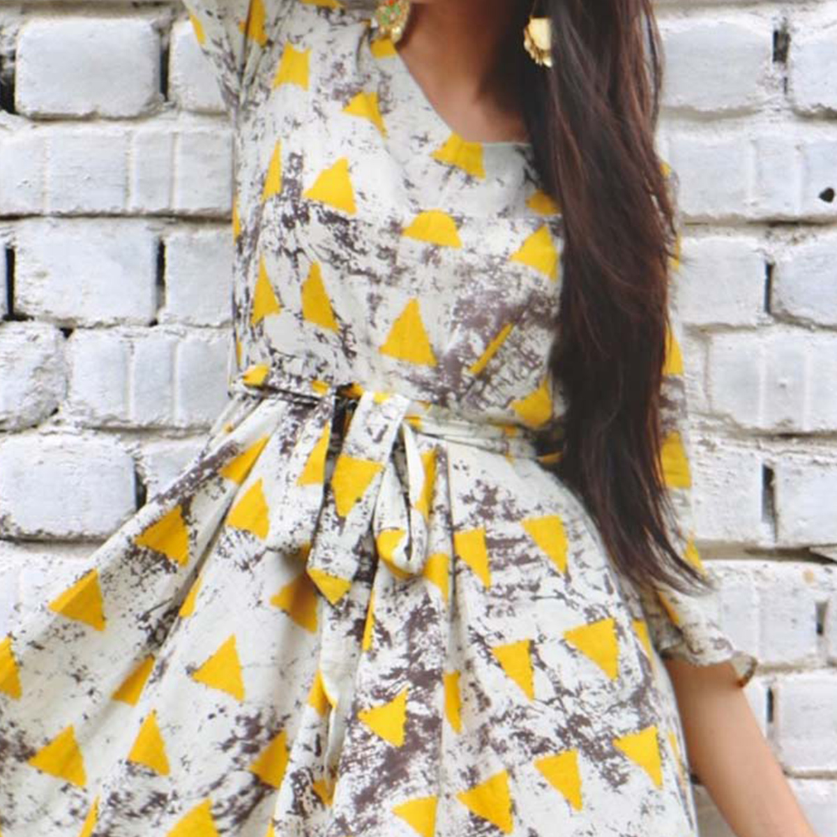 Beautiful Gray-Yellow Colored Designer Partywear Printed Pure Rayon Kurti