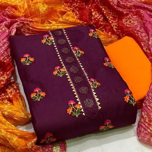 Charming Wine Colored Partywear Embroidered Cotton Dress Material