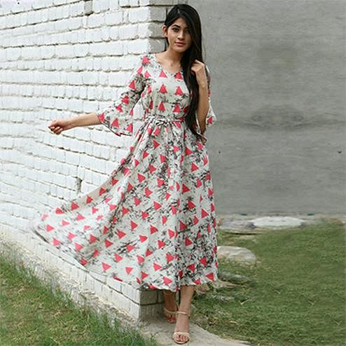 Graceful Gray-Pink Colored Designer Partywear Printed Pure Rayon Kurti