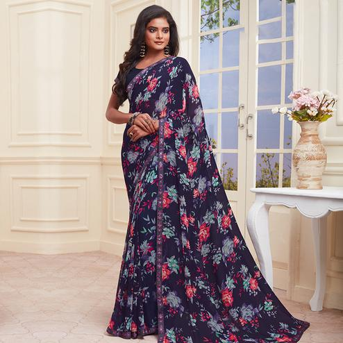 Stunning Navy Blue Colored Casual Wear Printed Heavy Georgette Saree