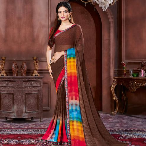 Prominent Brown Colored Casual Wear Printed Heavy Georgette Saree