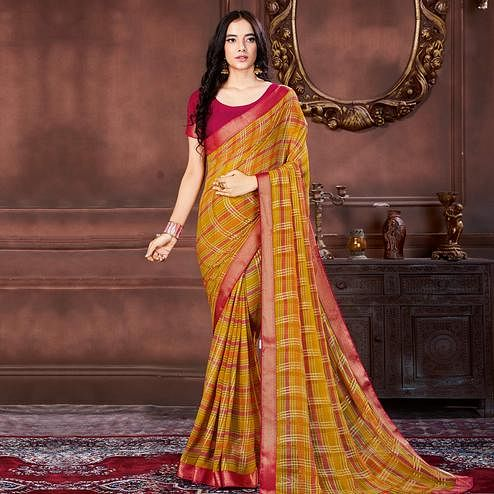 Appealing Yellow Colored Casual Wear Printed Heavy Georgette Saree