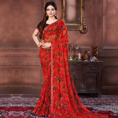 Capricious Red Colored Casual Wear Printed Heavy Georgette Saree