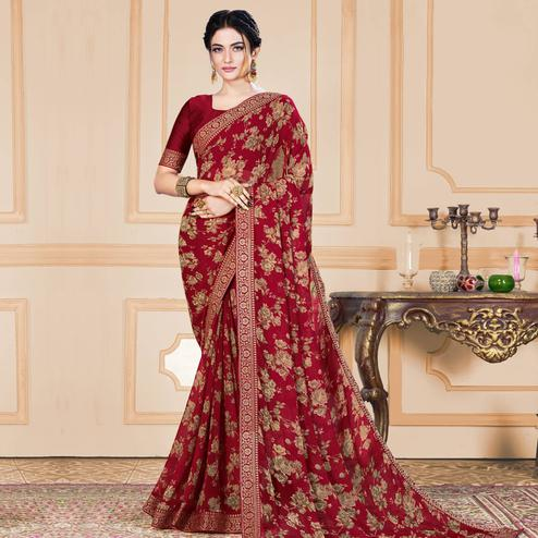 Groovy Maroon Colored Casual Wear Printed Heavy Georgette Saree