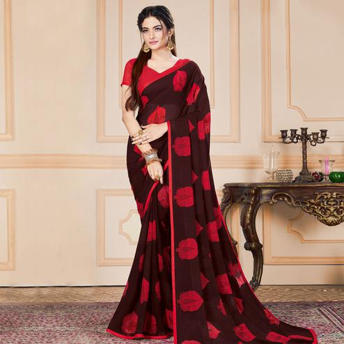 Adorning Coffee Brown Colored Casual Wear Printed Heavy Georgette Saree