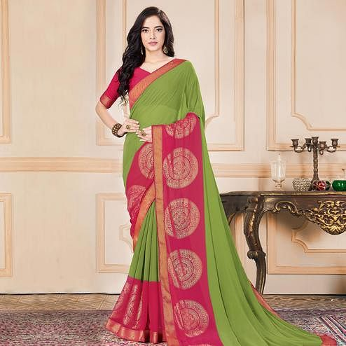 Exclusive Pista Green Colored Casual Wear Printed Heavy Georgette Saree
