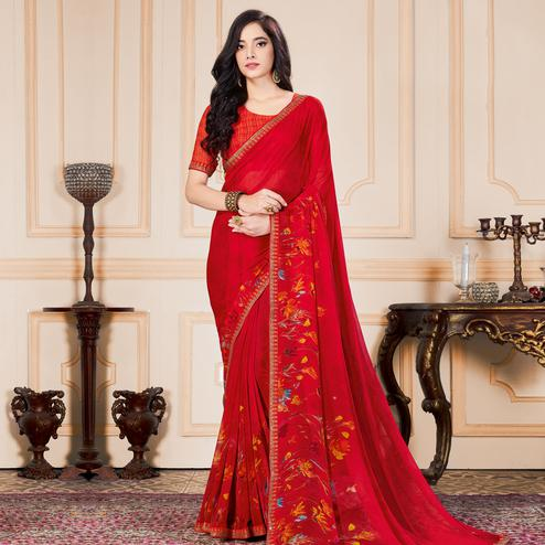 Adorable Red Colored Casual Wear Printed Heavy Georgette Saree