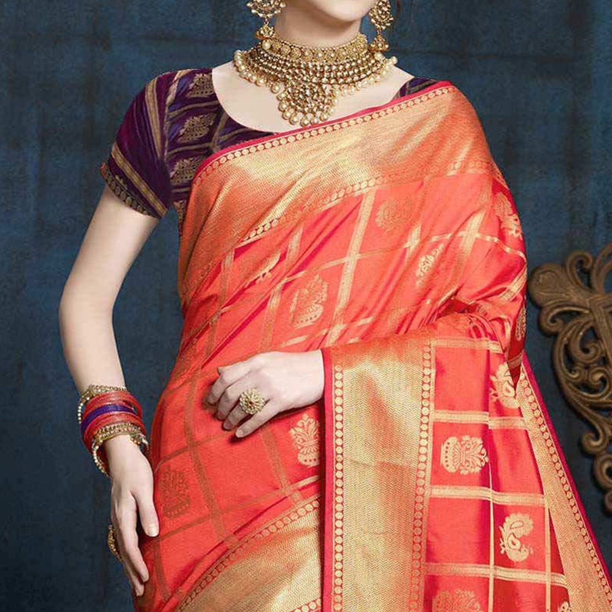 Orange Designer Festive Wear Woven Nylon Silk Saree