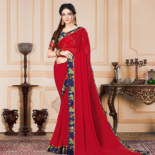 Attractive Red Colored Casual Wear Printed Pure Chiffon Saree