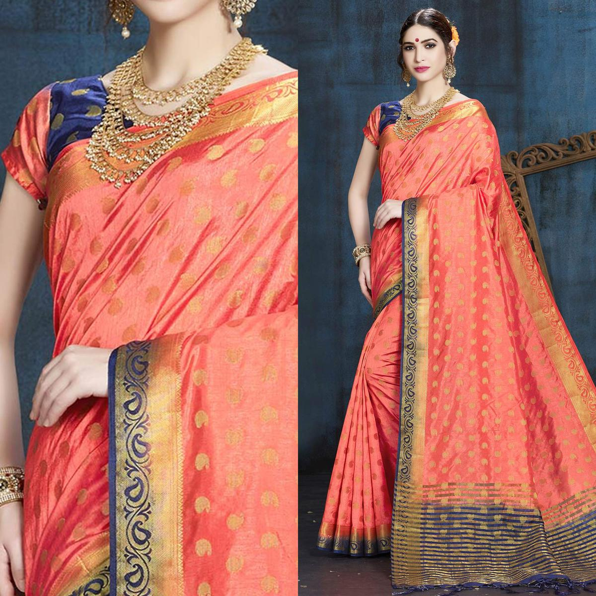Peach Designer Festive Wear Woven Nylon Silk Saree