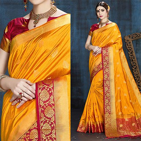 Yellow-Red Designer Festive Wear Woven Nylon Silk Saree