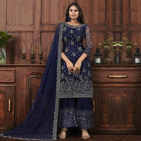 Impressive Navy Blue Colored Partywear Embroidered Net Palazzo Suit