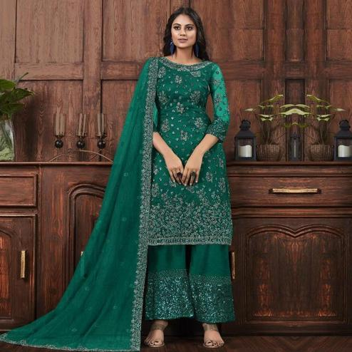 Mesmerising Bottle Green Colored Partywear Embroidered Net Palazzo Suit