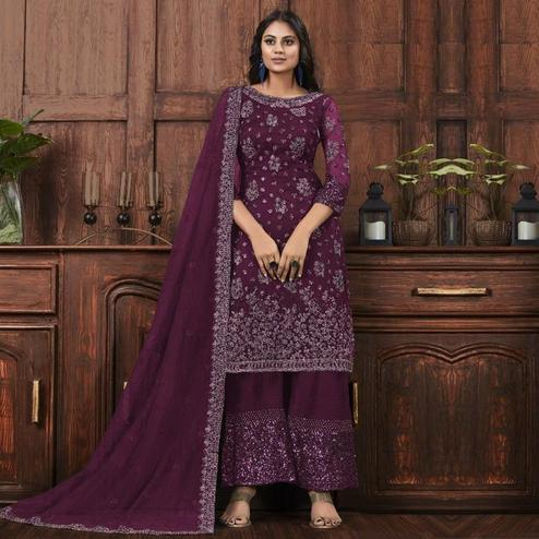 Pleasance Wine Colored Partywear Embroidered Net Palazzo Suit