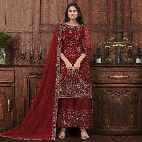 Breathtaking Maroon Colored Partywear Embroidered Net Palazzo Suit