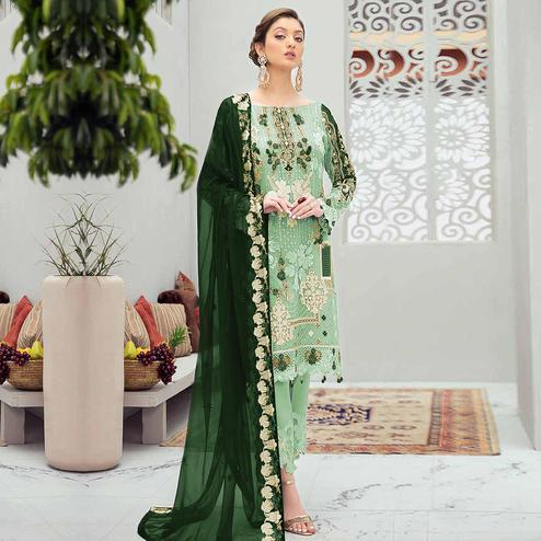 Arresting Green Colored Partywear Embroidered Net Straight Suit