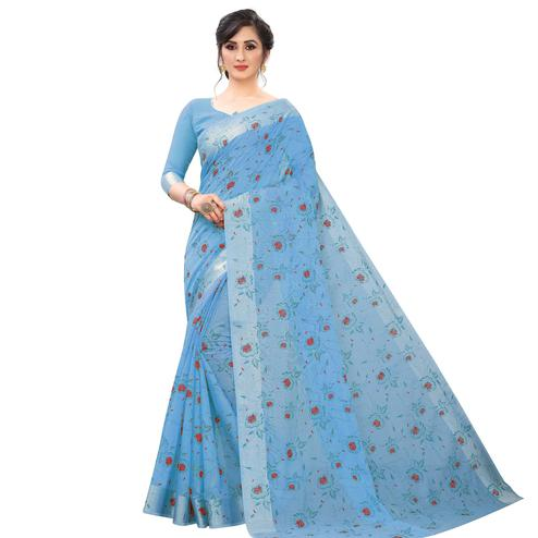 Trendy Blue Colored Casual Wear Printed Cotton Linen Saree