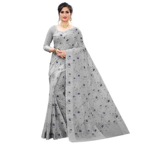Radiant Grey Colored Casual Wear Printed Cotton Linen Saree