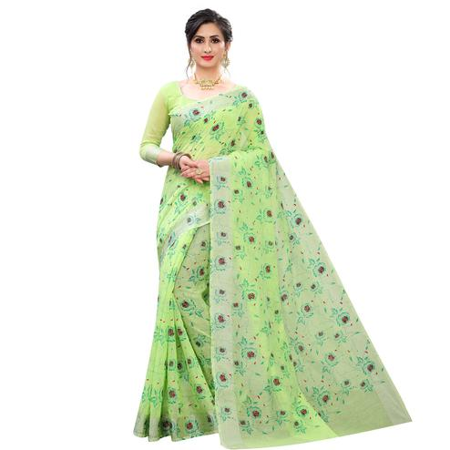 Pleasant Green Colored Casual Wear Printed Cotton Linen Saree