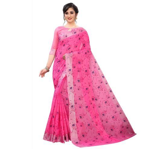 Opulent Pink Colored Casual Wear Printed Cotton Linen Saree