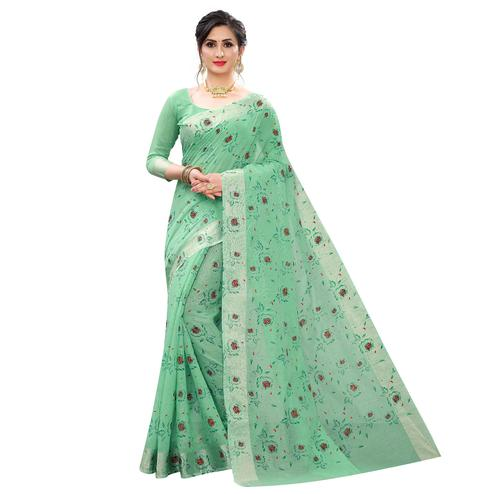 Energetic Rama Colored Casual Wear Printed Cotton Linen Saree