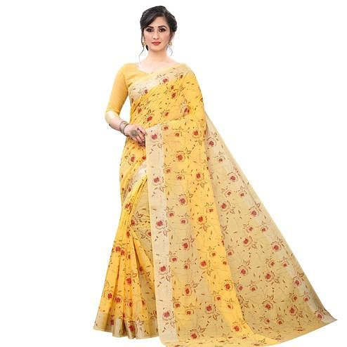 Glowing Yellow Colored Casual Wear Printed Cotton Linen Saree