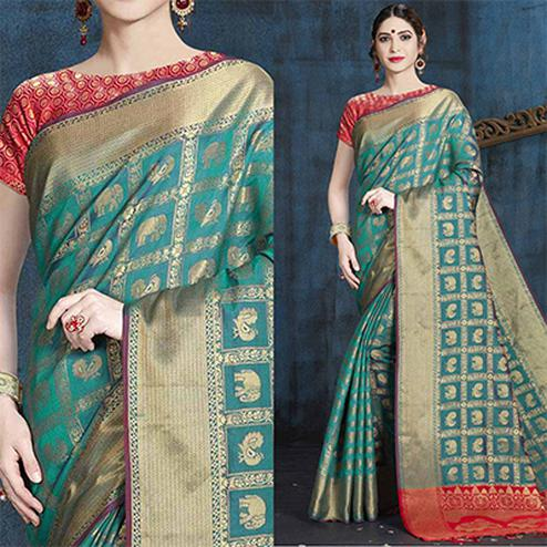 Blue Designer Festive Wear Woven Nylon Silk Saree