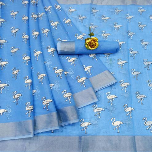 Pleasant Blue Colored Casual Wear Printed Cotton Linen Saree