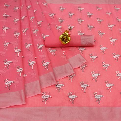 Opulent Peach Colored Casual Wear Printed Cotton Linen Saree