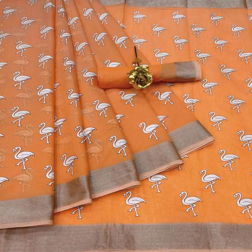 Energetic Orange Colored Casual Wear Printed Cotton Linen Saree