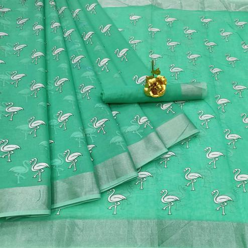 Gleaming Rama Colored Casual Wear Printed Cotton Linen Saree