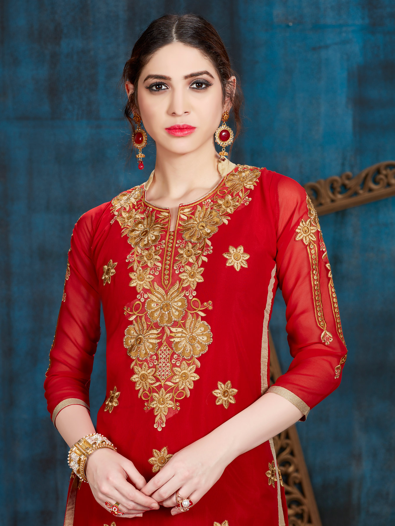 Ravishing Red Designer Embroidered Georgette Salwar Suit